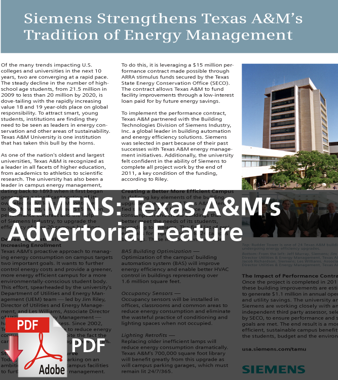 SIMENS Texas A&M's Advertorial Feature (PDF)